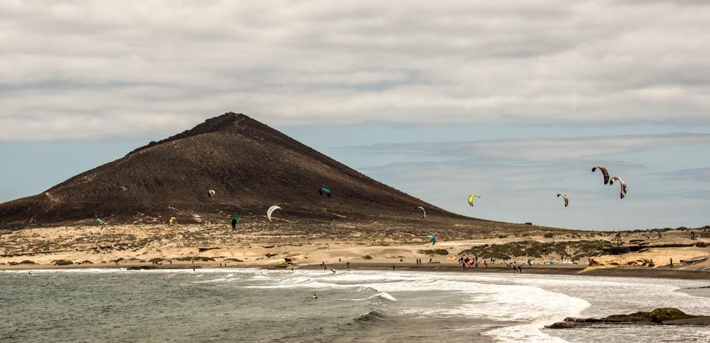 Teneriffa: Kitesurfer in El Medano